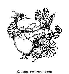 graphique, pré, miel, abeilles, bouteille, décoré, fleurs