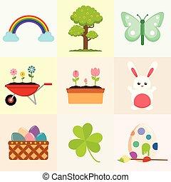graphique, printemps, objet, apparenté, illustration, dessin