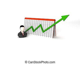 graphique, progrès, homme affaires, dimensionnel, trois