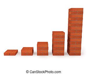 graphique, progrès, orange, croissance, briques, projection, fait