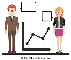 graphique, projection, mâle, femme