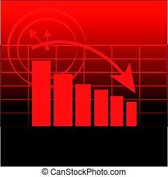 graphique, résumé, arrière-plan rouge