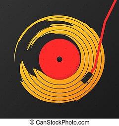graphique, résumé, enregistrement, vecteur, musique, vinyle, fond, noir