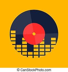 graphique, résumé, jaune, vague, enregistrement, vecteur, musique, vinyle, fond