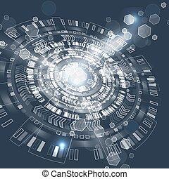 graphique, résumé, techno, utilisateur, interface., circle., futuriste