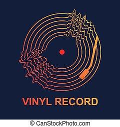 graphique, résumé, vague, sombre, enregistrement, vecteur, musique, vinyle, fond