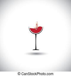 graphique, résumé, -, verre, vecteur, bulles, vin rouge