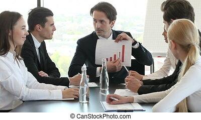 graphique, réunion homme, business, exposition