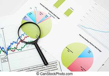 graphique, recherche, magnifier, business, verre