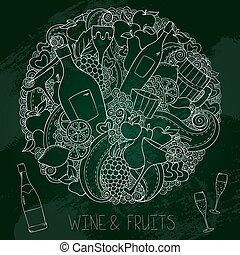 graphique, remettre ensemble, tableau, dessiné, vin