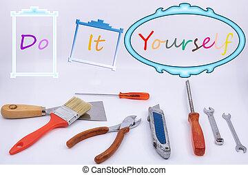 graphique, ressource, bricoleur, -, isolé, vous-même, objets, bricolage, fond, il, blanc