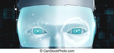 graphique, robot, fin, concept, haut, pensée, humanoïde, ai, cerveau, figure