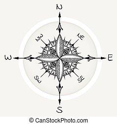 graphique, rose, éléments, compas, floral, dessiné, vent
