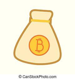 graphique, simple, argent, bitcoin, illustration, sac, vecteur