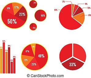 graphique, statistiques, barre, graphiques circulaires