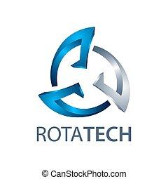 graphique, style., symbole, trois, élément, dimensionnel, concept, gabarit, logo, design., technologie, tourner, 3d