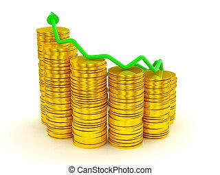 graphique, sur, croissance, profit:, pièces, doré, vert, piles