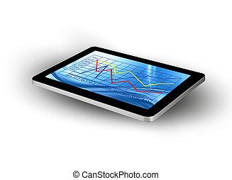graphique, tablette, écran