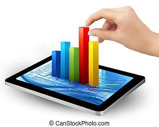graphique, tablette, vector., main., écran