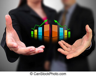 graphique, tenant main, business