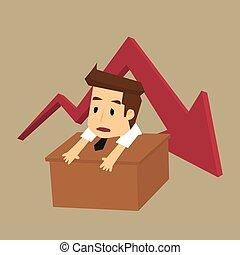 graphique, tendance, pensée, business, homme affaires, sur, jeune, failure., négatif, inquiété