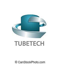 graphique, tube, trois, style., dimensionnel, concept, gabarit, logo, 3d, technologie, symbole, design.