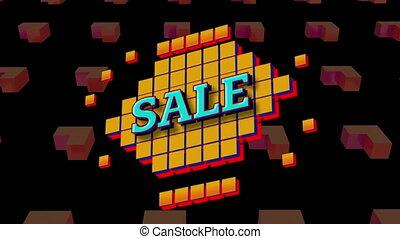 graphique, vente, carrés