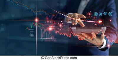 graphique, ventes, caused., fracas, couronne, virus, homme affaires, analyser, covid-19, marché, économique, dû, tomber, utilisation, crise, tablette, diagramme, stockage, données