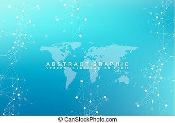graphique, visualization., communication, résumé, map., depth., illustration, vecteur, virtuel, fond, monde numérique, données, toile de fond, perspective
