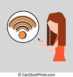 graphique, wifi, téléphone, internet, utilisation, girl