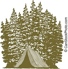graphique, woodcut, camping