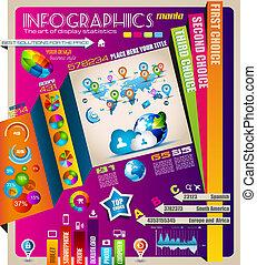 graphiques, éléments, infographics, nuage, calculer