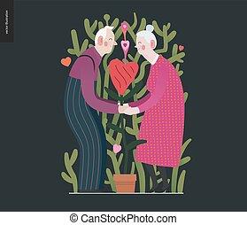 graphiques, amour, valentin, personnes âgées accouplent, -
