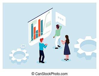 graphiques, business, groupe, procédés, gens, devant, fonctionnement, brain-storming