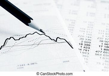 graphiques, diagrammes, marché, stockage