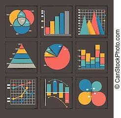 graphiques, ensemble, coloré, business