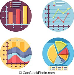 graphiques, ensemble, diagrammes, icônes