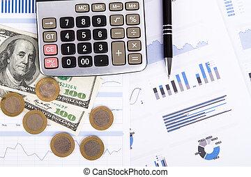 graphiques, financier, diagrammes, affaires ajournent