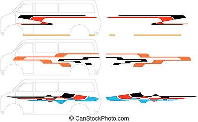 graphiques, raie, véhicule, prêt, :, vinyle