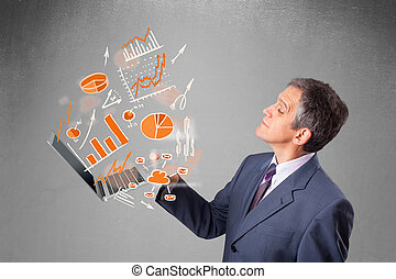 graphiques, statistiques, tenue, cahier, homme affaires