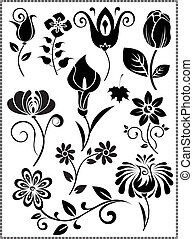 graphis-design-of-flowers-vector - is a set of diferent...