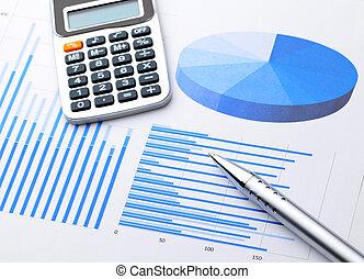 graphisch, tabelle, mit, kugelschreiber, calcultor