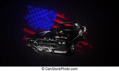graphisme, voiture, américain, muscle