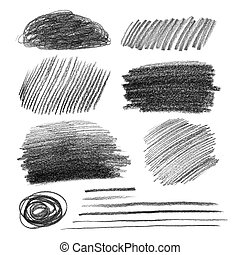 Collection of graphite pencil hatching grunge textures.