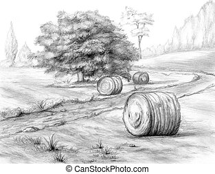Graphite rural landscape with haystacks