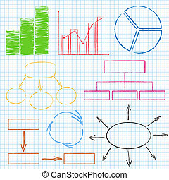 Graphs and diagrams - Set of different graphs and diagrams...