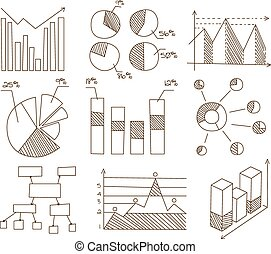Graphs, Charts and Diagrams. Hand Drawn Business Icons Set.