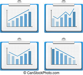 Clipboards with graphs on white background, vector eps10 illustration