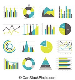 Graphs Flat Icons Set