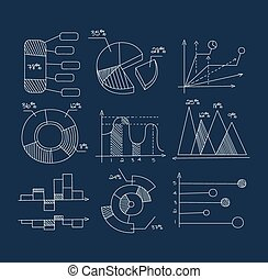 Graphs, Pie Charts and Diagrams. Hand Drawn Business Icons Set.